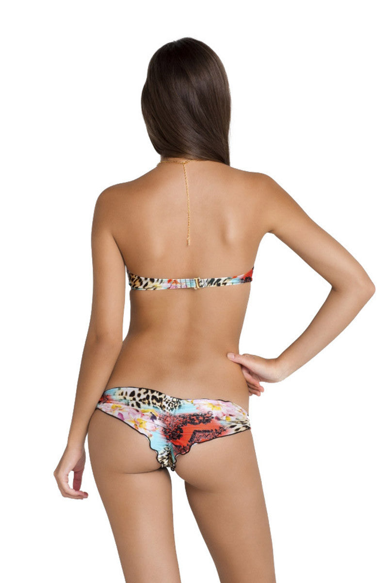 LULI FAMA Underwire Bandeau Top Bikini Top | Multicolor Paisley/Animal|
