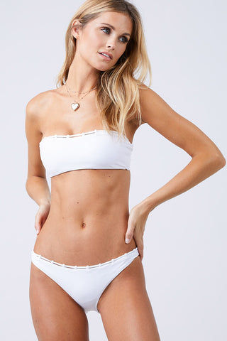 JADE SWIM Chain Reaction Bandeau Bikini Top - White Bikini Top | White| Jade Swim Chain Reaction Bandeau Bikini Top - White Front View Bandeau Bikini Top Chain Loop Detailing Across the Top Chlorine, Oil, and Cream-Resistant Fabric