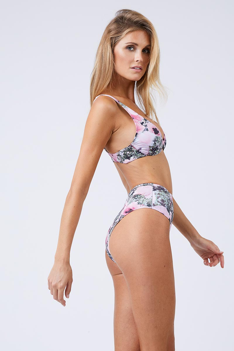 FLEUR DU MAL Front Closure Plunge Bikini Top - Poppy Print Bikini Top | Poppy Print| Fleur Du Mal Front Closure Plunge Bikini Top Side View