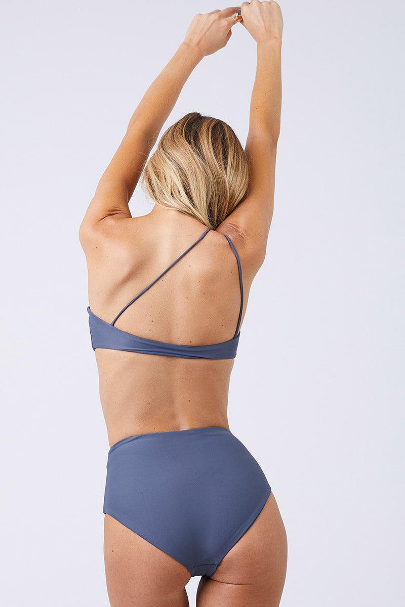 JADE SWIM Apex One Shoulder Bikini Top - Slate Bikini Top | Slate| Jade Swim Apex One Shoulder Bikini Top - Slate Back View Asymmetrical One Shoulder Bikini Top Slate Gray Fabric Thin Double Back Straps UV Protective Lotion/Oil Resistant