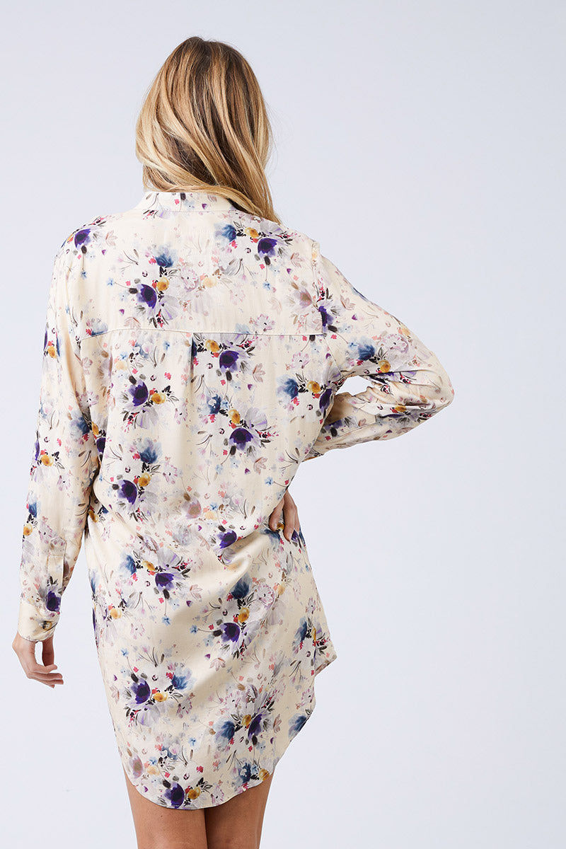 BOYS + ARROWS It's Not You It's Me Dress - Pretty Little Thing Floral Print Dress | Pretty Little Thing Floral Print| Boys + Arrows It's Not You It's Me Dress - Pretty Little Thing Floral Print  Shirt Dress Mandarin Collar Long Sleeves Button Up Back  100% Viscose Designed in California  Back View