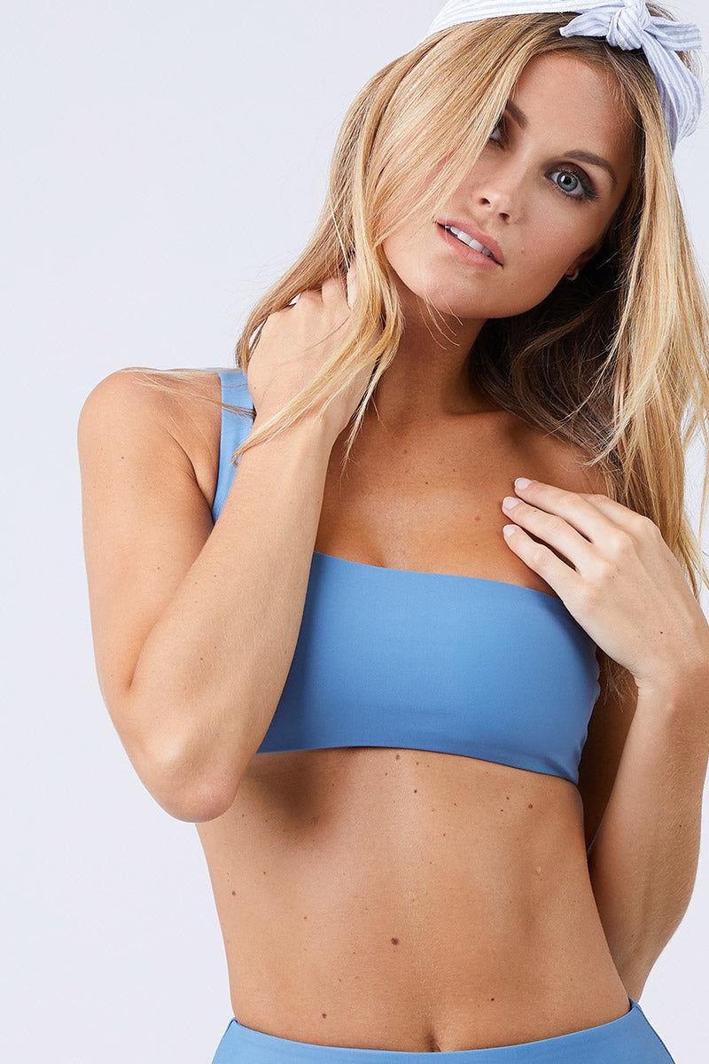 JADE SWIM Apex One Shoulder Bikini Top - Sky Bikini Top   Sky  Jade Swim Apex One Shoulder Bikini Top - Sky Front View Asymmetrical One Shoulder Bikini Top Sky Blue Fabric Thin Double Back Straps UV Protective Lotion/Oil Resistant