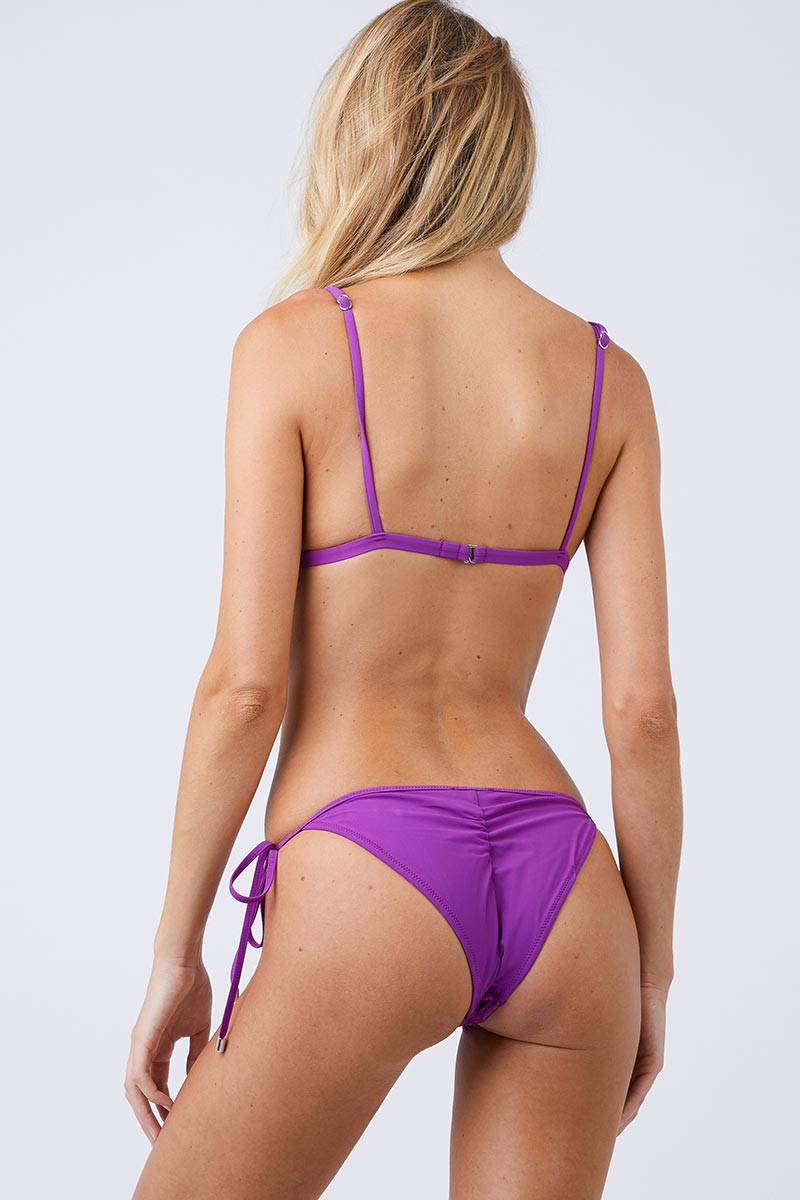 FLEUR DU MAL Lily Long Triangle Bikini Top - Dragon Fruit Bikini Top | Dragon Fruit| Fleur Du Mal Lily Long Triangle Bikini Top Unpadded bright purple bikini top with delicate embroidered floral detail. Thick scalloped shoulder straps offer an elegant, modern take on the classic triangle bikini top. Back hook closure and adjustable spaghetti straps Back View