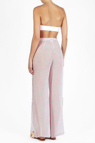 EVARAE Aprilla Wide Leg Palazzo Pants - Ditsy Dot Red Print Pants | Disty Dot Red Print|Features:   High waist pants  Flowy wide legs