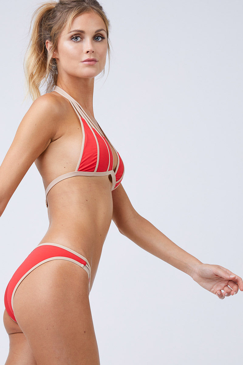 MOEVA Lucia Color Block Low Rise Full Bikini Bottom - Red & Nude Bikini Bottom | Red & Nude | MOEVA Lucia Color Block Low Rise Full Bikini Bottom - Red & Nude  Full coverage Low rise Fully lined 72% Polyamide, 28% Elastane Side View
