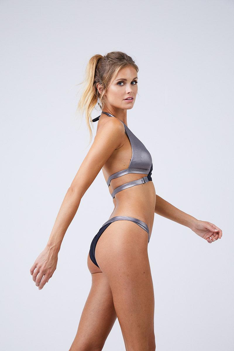 MOEVA Olivia Thick Waistband Bottom - Black/ Silver Bikini Bottom | Black/Silver| Moeva Olivia Thick Waistband Bottom Side View