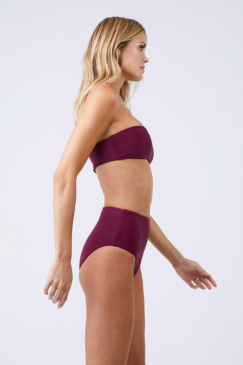 JADE SWIM Bound High Waisted Bikini Bottom - Fig Bikini Bottom   Fig  Jade Swim Bound High Waisted Bikini Bottom - Fig High Waisted High Cut Leg Moderate Coverage Side View