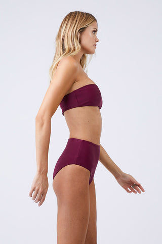 JADE SWIM Bound High Waisted Bikini Bottom - Fig Bikini Bottom | Fig| Jade Swim Bound High Waisted Bikini Bottom - Fig High Waisted High Cut Leg Moderate Coverage Side View