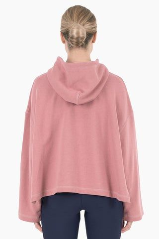 NYLORA Mila Hooded Long Sleeve Drawstring Sweatshirt - Dusty Pink Top | Dusty Pink| Nylora Mila Hooded Top - Dusty Pink. Features:  Drawstring hood Drawstring hood Kangaroo pocket Relaxed fit Back View