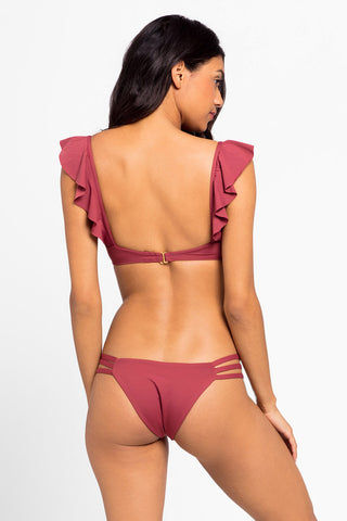 L SPACE Harper Ruffle Bikini Top - Currant Pink Bikini Top | Currant Pink| L Space Harper Ruffle Bikini Top - Currant Pink V neckline Ruffle shoulder sleeves  Back hook closure Made in USA  Back View