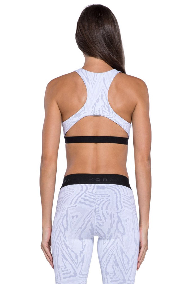 KORAL Tax Banded Sports Bra - White Galaxy Activewear | White Galaxy| KORAL Galaxy Tax Sports Bra Back View