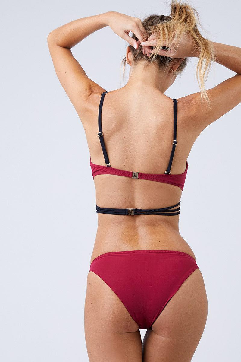 MOEVA Lucy Bikini Bottom - Bordeau/Black Bikini Bottom | Bordeau/Black| MOEVA Lucy Bikini Bottom Back View
