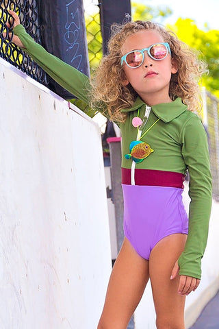 MOTT50 KIDS Mini Margherita Color Block Collared Rashguard Bodysuit (Kids) - Vineyard Green/Cordovan Red/Lilac Purple Kids One Piece | Vineyard Green/Cordovan Red/Lilac Purple| Mott50 Kids Mini Margherita Collared Rashguard Bodysuit (Kids) - Vineyard Green/Cordovan Red/Lilac Purple Kids one piece Retro style with collar Zipper front closure Fun colorblocking  Long sleeves Front View