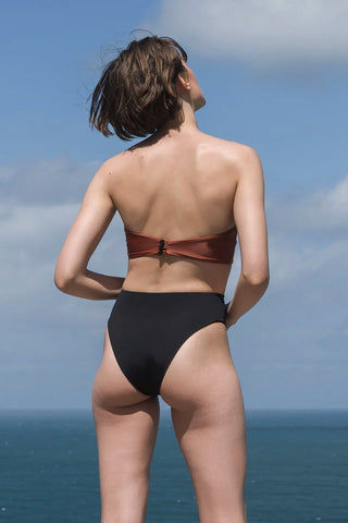 HAIGHT Marcella Bandeau Bikini Top - Mocca Orange Bikini Top | Mocca Orange| Haight Marcella Bandeau Bikini Top - Mocca Orange Bandeau  Strapless Back button closure Back View
