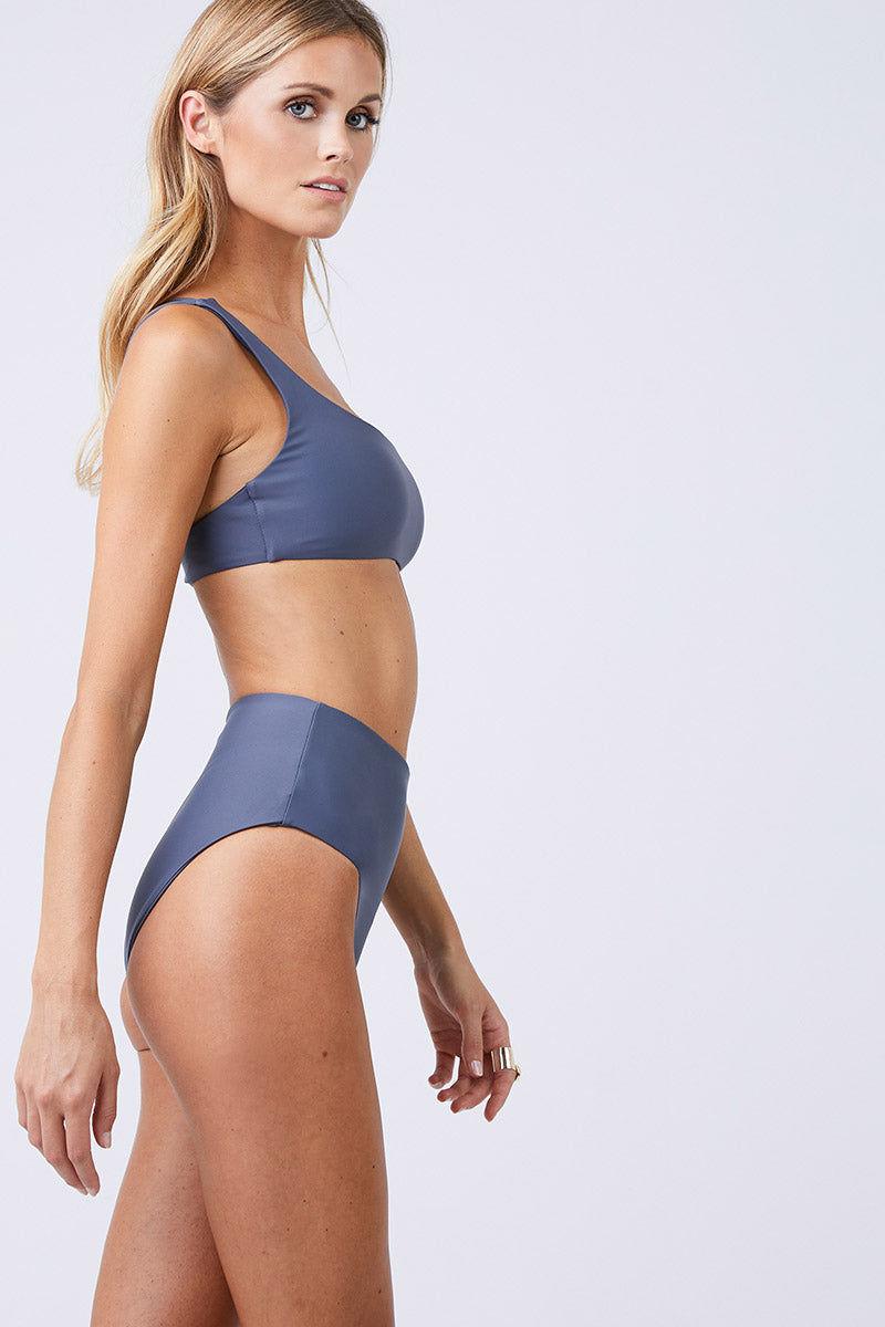JADE SWIM Apex One Shoulder Bikini Top - Slate Bikini Top | Slate| Jade Swim Apex One Shoulder Bikini Top - Slate  Asymmetrical One Shoulder Bikini Top Slate Gray Fabric Thin Double Back Straps UV Protective Lotion/Oil Resistant Side View