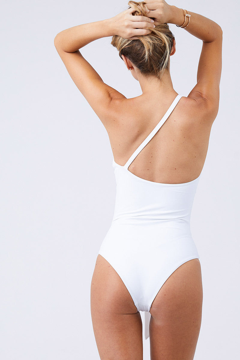 JADE SWIM Collision One Shoulder Front Cut Out One Piece Swimsuit - White One Piece | White| Jade Swim Collision One Shoulder Front Cut Out One Piece Swimsuit - White All White Asymmetrical One Piece Swimsuit One Shoulder Off Center Front Cut Outs Knot Tie Detail Single Thin Back Strap Moderate Coverage Back View