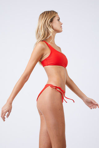 JADE SWIM Links Tie Sides Bikini Bottom - Lava Bikini Bottom | Lava| Jade Swim Links Tie Sides Bikini Bottom - Lava Tie Side Bottom  Moderate Coverage  Made in Los Angeles 82% Nylon, 18% Lycra Spandex Care  Hand wash, lay flat to dry Chlorine, oil and cream resistant Side View