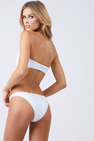 JADE SWIM Chain Reaction Hipster Bikini Bottom - White Bikini Bottom | White| Jade Swim Chain Reaction Hipster Bikini Bottom - White Back View Hipster Bikini Bottom High Cut Leg Chain Loop Detail on Waistline Cheeky Coverage