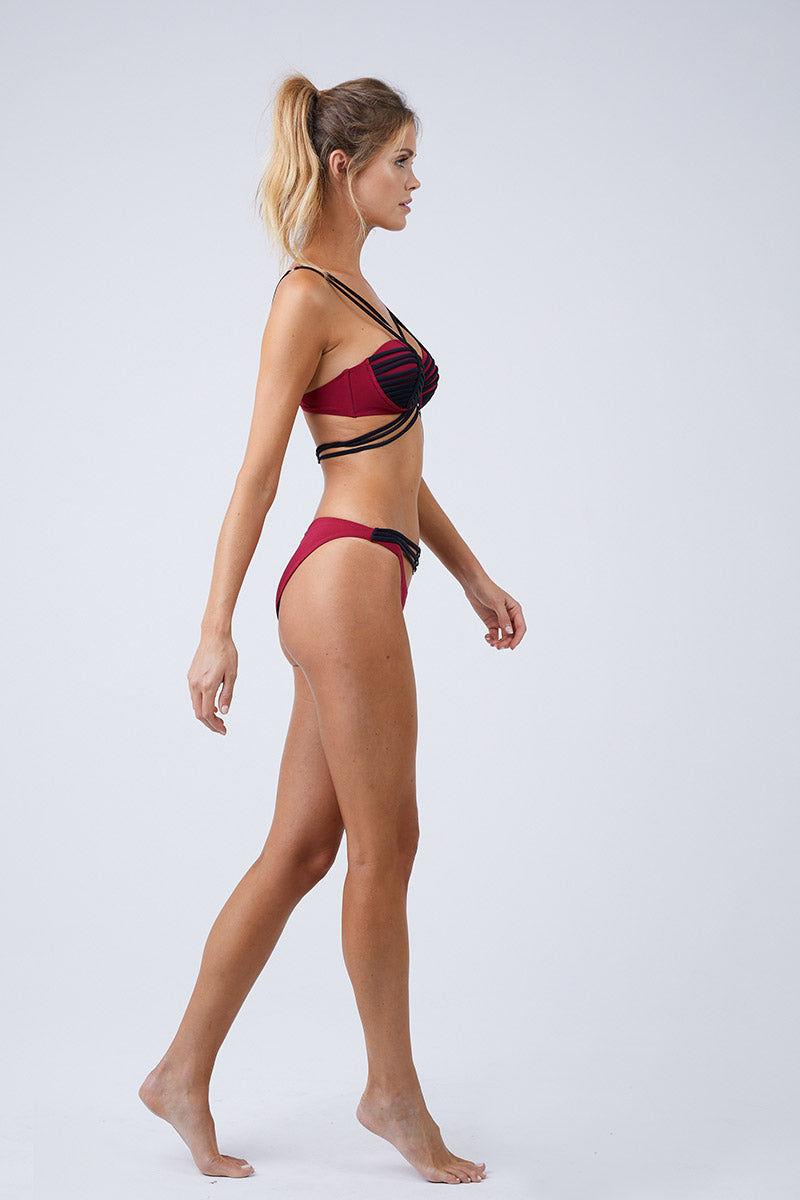 MOEVA Lucy Bikini Bottom - Bordeau/Black Bikini Bottom | Bordeau/Black| MOEVA Lucy Bikini Bottom Side View