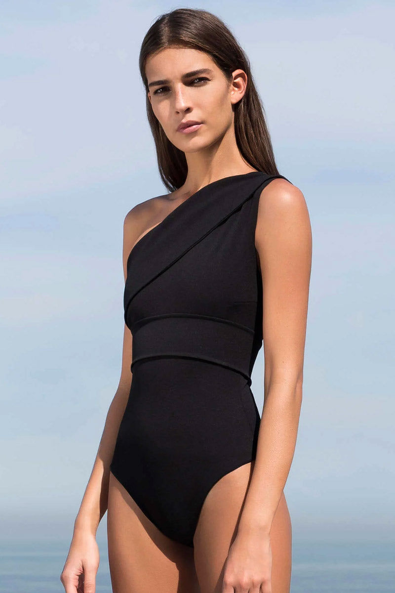 HAIGHT Maria One Shoulder One Piece Swimsuit - Black One Piece   Black  Haight Maria One Shoulder One Piece Swimsuit - Black Side View