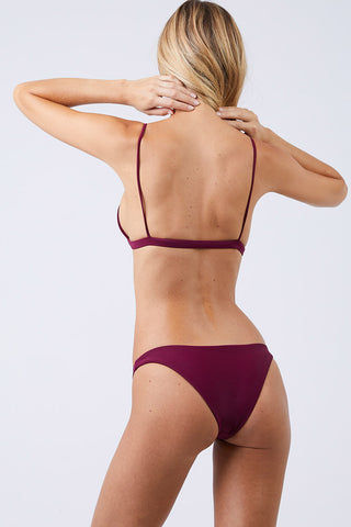 JADE SWIM Most Wanted Classic Bikini Bottom - Fig Bikini Bottom | Fig| Jade Swim Most Wanted Classic Bikini Bottom - Fig Low Rise High Cut Leg Cheeky Coverage Pull On Back View