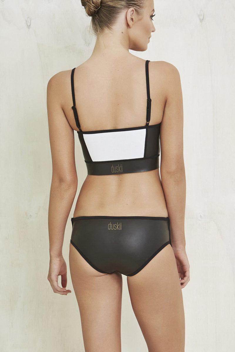 DUSKII Zip Me Up Top Bikini Top | Black & White|