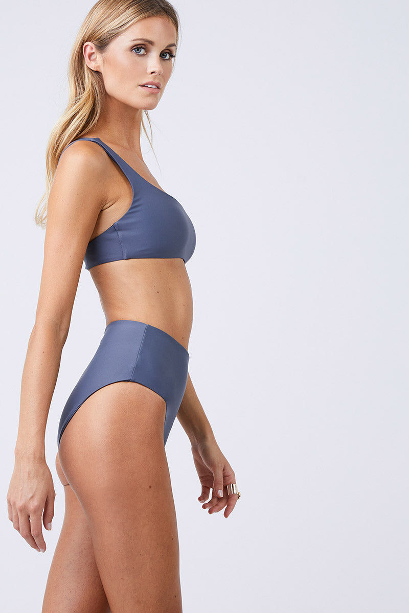 JADE SWIM Bound High Waisted Bikini Bottom - Slate Bikini Bottom | Slate| Jade Swim Bound High Waisted Bikini Bottom - Slate Slate Gray High-Waisted Bikini Bottom Moderate to Full Coverage UV Protective Oil/Cream/Chlorine Resistant Fabric  Back View
