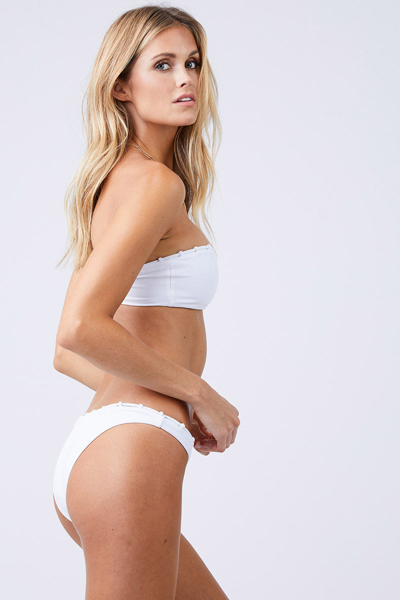 JADE SWIM Chain Reaction Bandeau Bikini Top - White Bikini Top | White| Jade Swim Chain Reaction Bandeau Bikini Top - White Front View Bandeau Bikini Top Chain Loop Detailing Across the Top Chlorine, Oil, and Cream-Resistant Fabric Side View