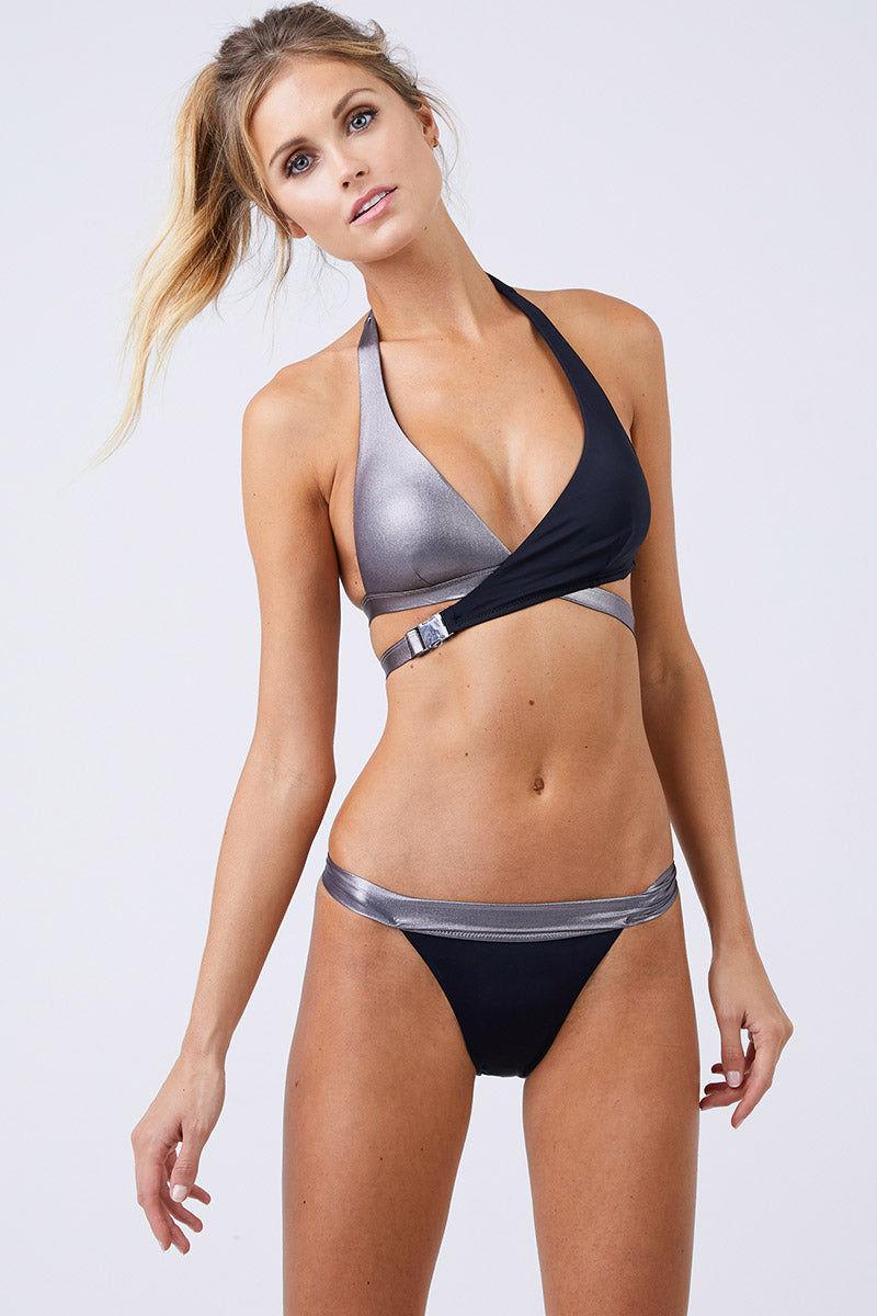 MOEVA Olivia Thick Waistband Bottom - Black/ Silver Bikini Bottom | Black/Silver| Moeva Olivia Thick Waistband Bottom Front View