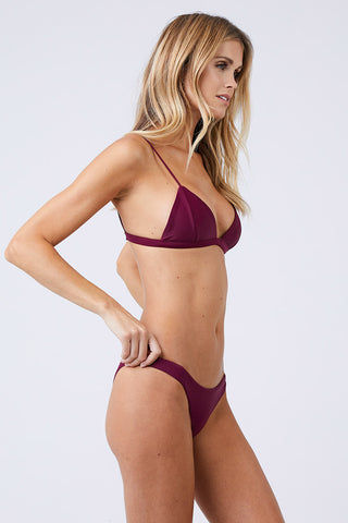 JADE SWIM Most Wanted Classic Bikini Bottom - Fig Bikini Bottom | Fig| Jade Swim Most Wanted Classic Bikini Bottom - Fig Low Rise High Cut Leg Cheeky Coverage Pull On Side View