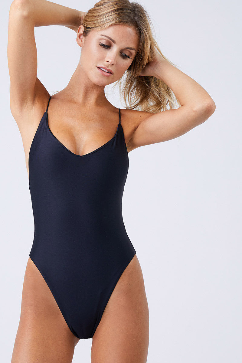 JADE SWIM Links Scoop Neckline One Piece Swimsuit - Black One Piece | Black| Jade Swim Links Scoop Neckline One Piece Swimsuit - Black Scoop Slight V  Neckline  Thin Spaghetti Straps  Interlocking Criss Cross Back Straps High Cut Leg  Cheeky Coverage  Made in Los Angeles 82% Nylon, 18% Lycra Spandex Care  Hand wash, lay flat to dry Chlorine, oil and cream resistant Front View