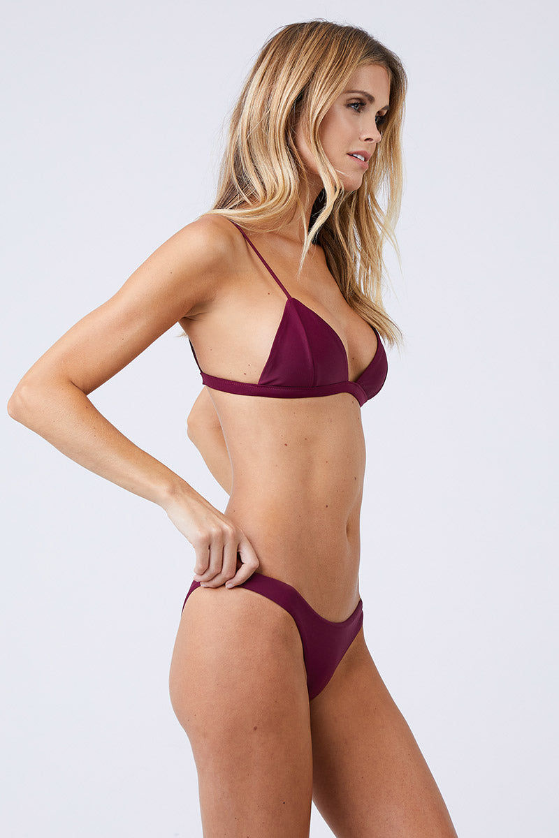 JADE SWIM Perfect Match Triangle Bikini Top - Fig Bikini Top | Fig| Jade Swim Perfect Match Triangle Bikini Top - Fig Triangle Top  Elastic Bra Band  Thin Shoulder Straps Made in Los Angeles 82% Nylon, 18% Lycra Spandex    Care  Hand wash, lay flat to dry Chlorine, oil and cream resistant Side View