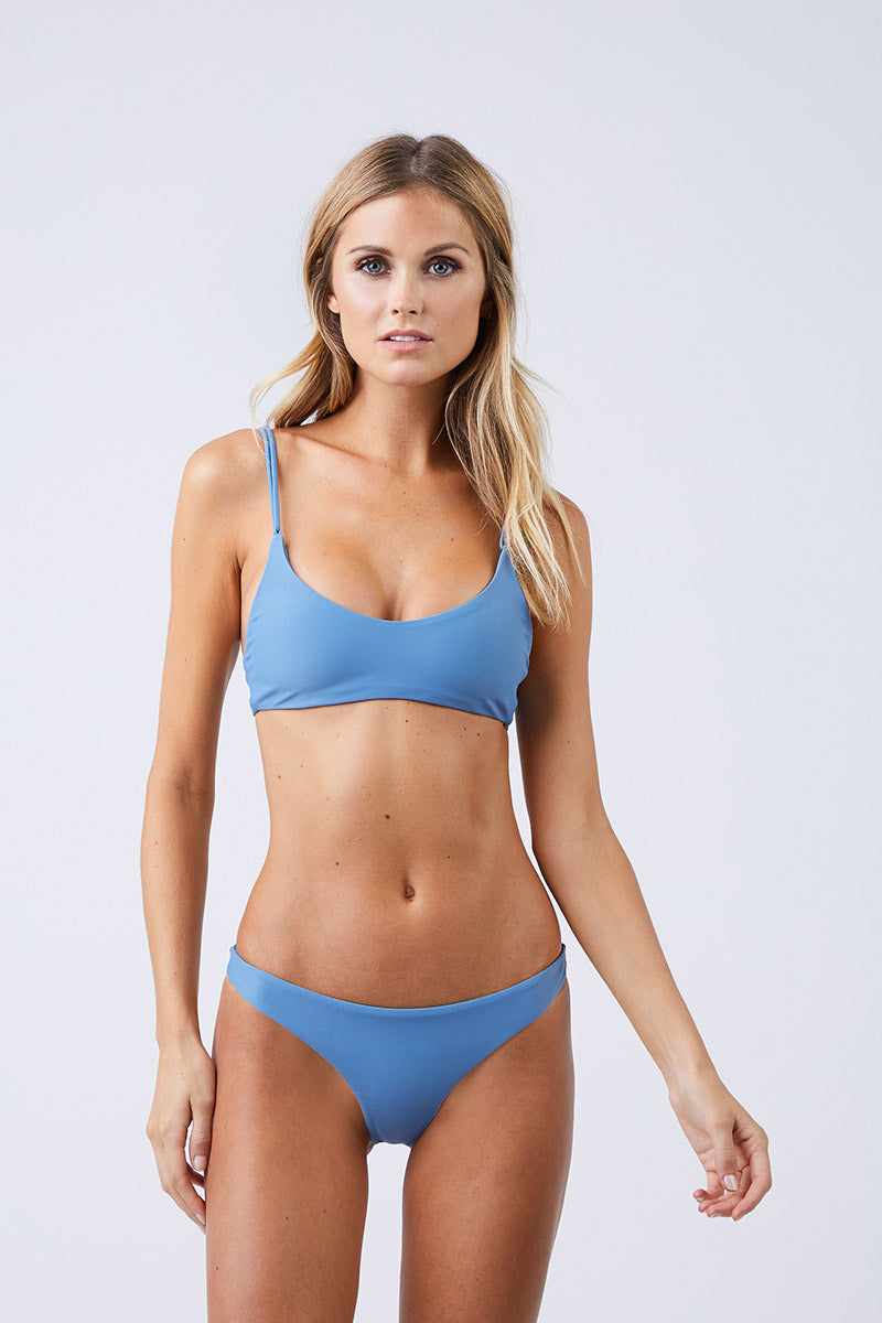JADE SWIM Duality Double Strap Bikini Top - Sky Bikini Top | Sky| Jade Swim Duality Double Strap Bikini Top - Sky Front View Sky Blue Bralette Style Bikini Top Scoop Neckline Comfortable Double Looped Through Straps