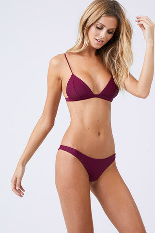 JADE SWIM Most Wanted Classic Bikini Bottom - Fig Bikini Bottom | Fig| Jade Swim Most Wanted Classic Bikini Bottom - Fig Low Rise High Cut Leg Cheeky Coverage Pull On Front View