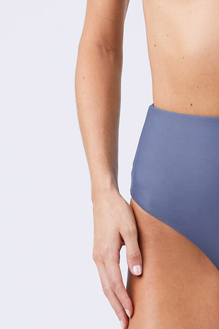 JADE SWIM Bound High Waisted Bikini Bottom - Slate Bikini Bottom | Slate| Jade Swim Bound High Waisted Bikini Bottom - Slate Slate Gray High-Waisted Bikini Bottom Moderate to Full Coverage UV Protective Oil/Cream/Chlorine Resistant Fabric  Close View