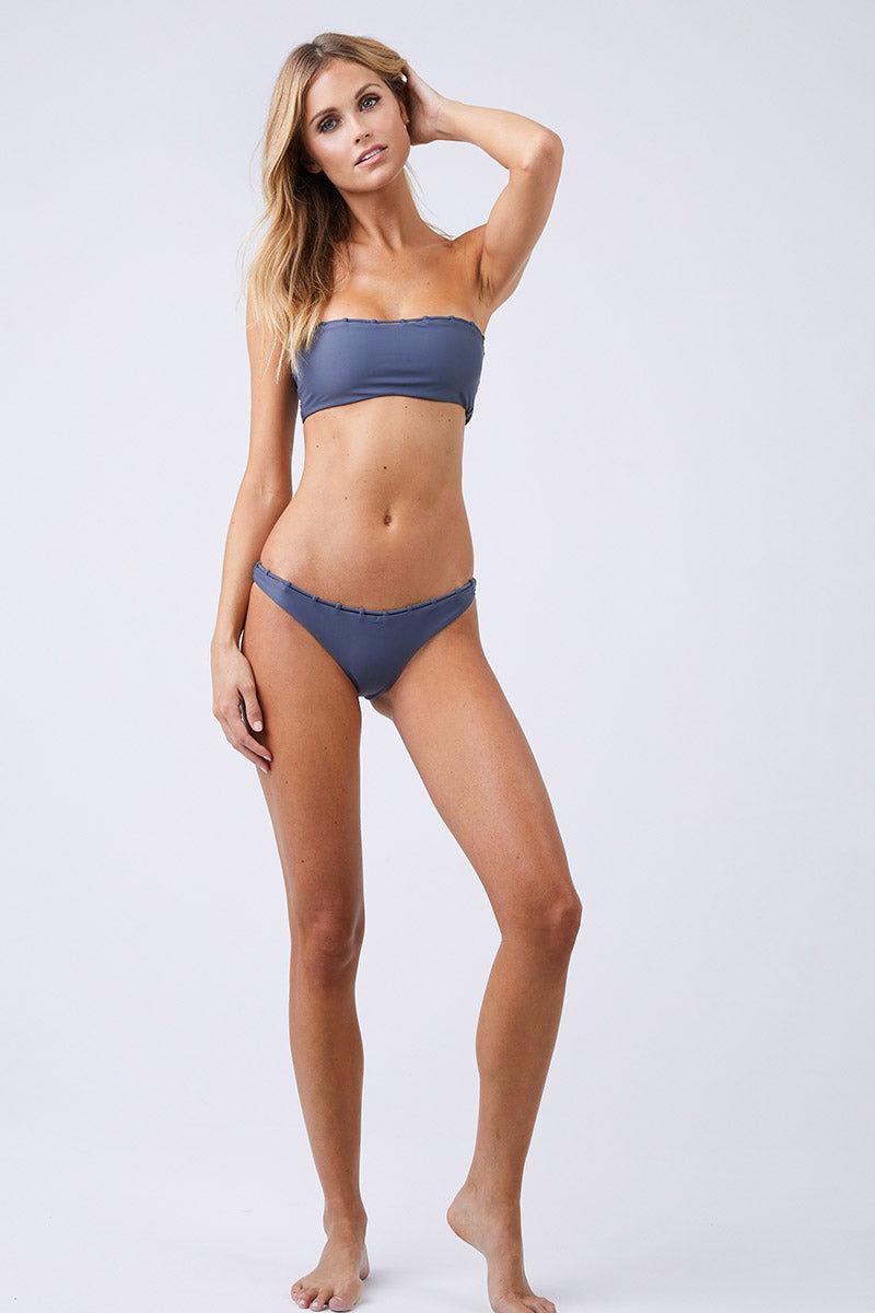 JADE SWIM Chain Reaction High Cut Bikini Bottom - Slate Bikini Bottom | Slate| Jade Swim Chain Reaction High Cut Bikini Bottom - Slate Front View Slate Gray Hipster Bikini Bottom High Cut Leg Chain Loop Detail on Waistline Cheeky Coverage