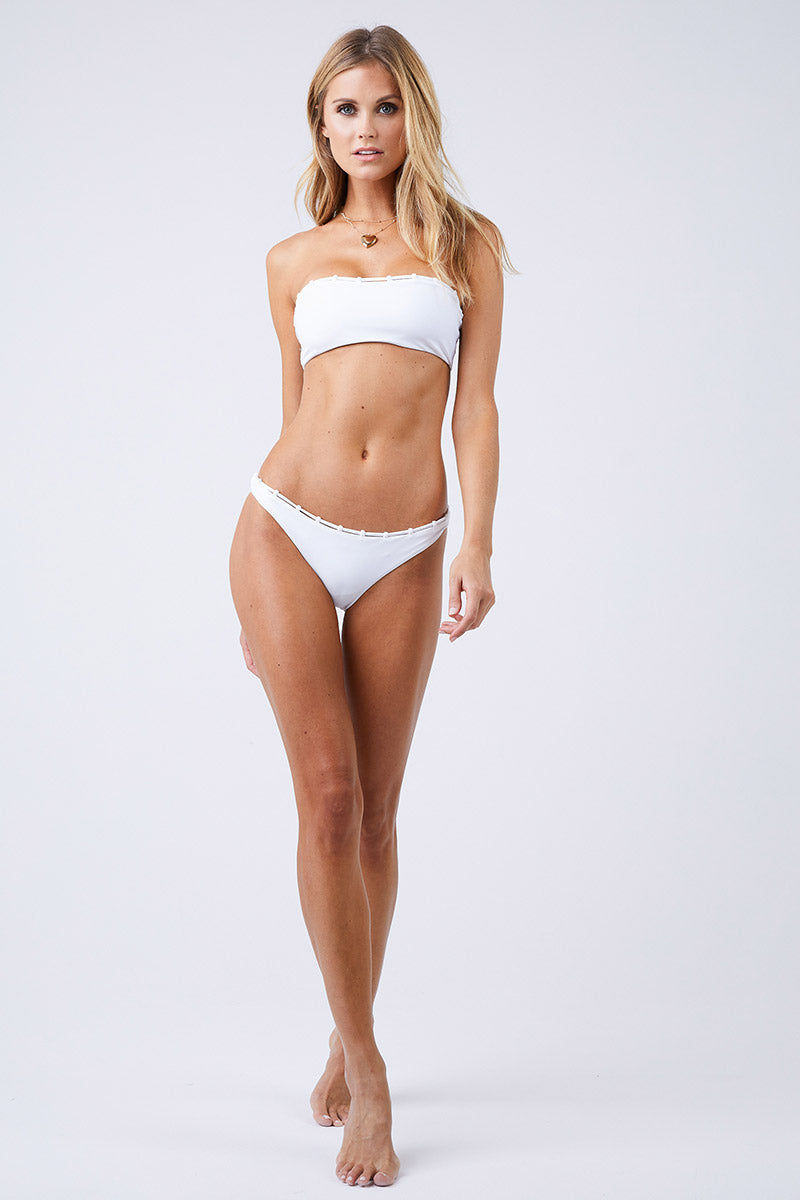 JADE SWIM Chain Reaction Bandeau Bikini Top - White Bikini Top | White| Jade Swim Chain Reaction Bandeau Bikini Top - White Front View Bandeau Bikini Top Chain Loop Detailing Across the Top Chlorine, Oil, and Cream-Resistant Fabric Front View