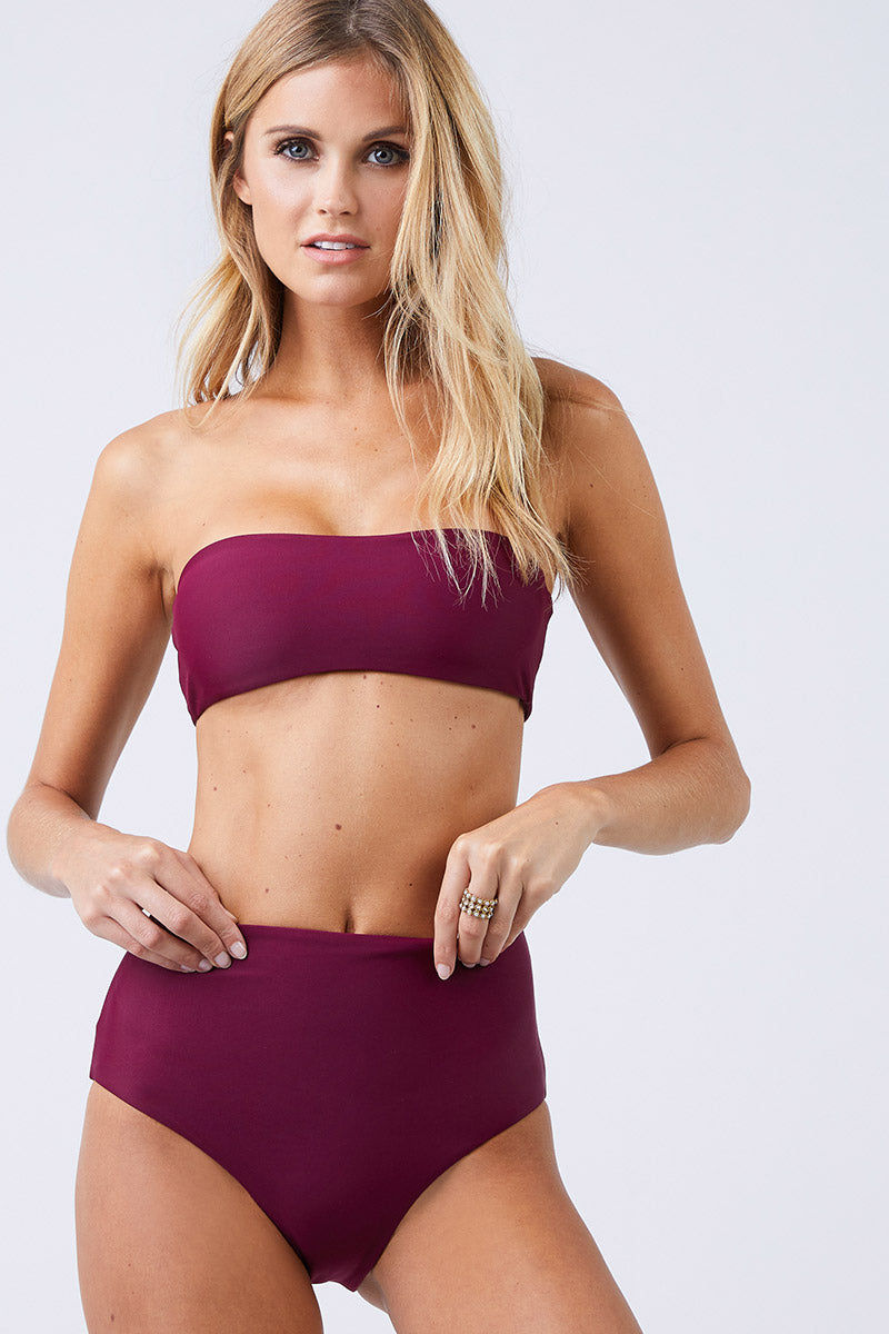 JADE SWIM All Around Bandeau Bikini Top - Fig Bikini Top | Fig| Fig| Jade Swim All Around Bandeau Bikini Top - Fig Slight Sweetheart Neckline Bandeau Top  Made in LA  82% Nylon 18% Spandex Front View
