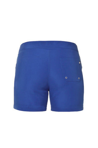 J.LIN Sailor Mid Length Swim Trunks - Royal Blue Mens Swim | Royal Blue| J. Lin Sailor Mid Length Swim Trunks - Royal Blue. Flat Lay Back View. Mid-length  Buckle closure at center front  Forward seam with white pipping Snap front pocket, open back pocket White stretch lining   100% Polyester.