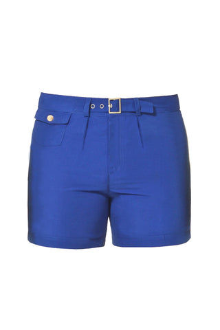 J.LIN Sailor Mid Length Swim Trunks - Royal Blue Mens Swim | Royal Blue| J. Lin Sailor Mid Length Swim Trunks - Royal Blue. Flat Lay Front View. Mid-length  Buckle closure at center front  Forward seam with white pipping Snap front pocket, open back pocket White stretch lining   100% Polyester.