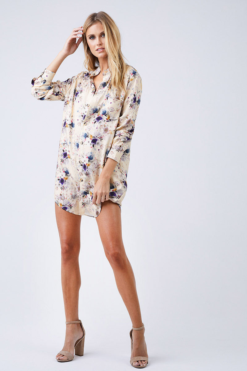 BOYS + ARROWS It's Not You It's Me Dress - Pretty Little Thing Floral Print Dress | Pretty Little Thing Floral Print| Boys + Arrows It's Not You It's Me Dress - Pretty Little Thing Floral Print  Shirt Dress Mandarin Collar Long Sleeves Button Up Back  100% Viscose Designed in California  Front View
