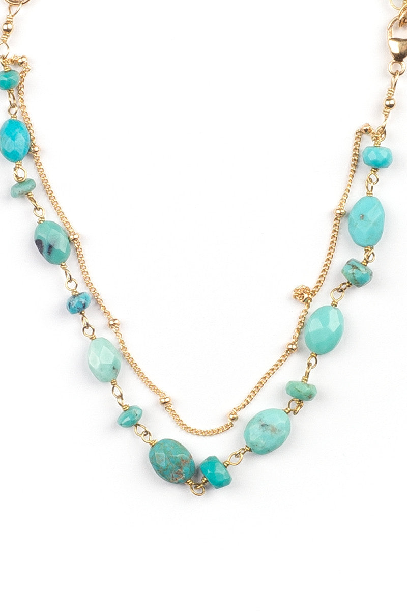 MAILEE Turquoise + Satellite Bracelet - Gold Jewelry | Gold|