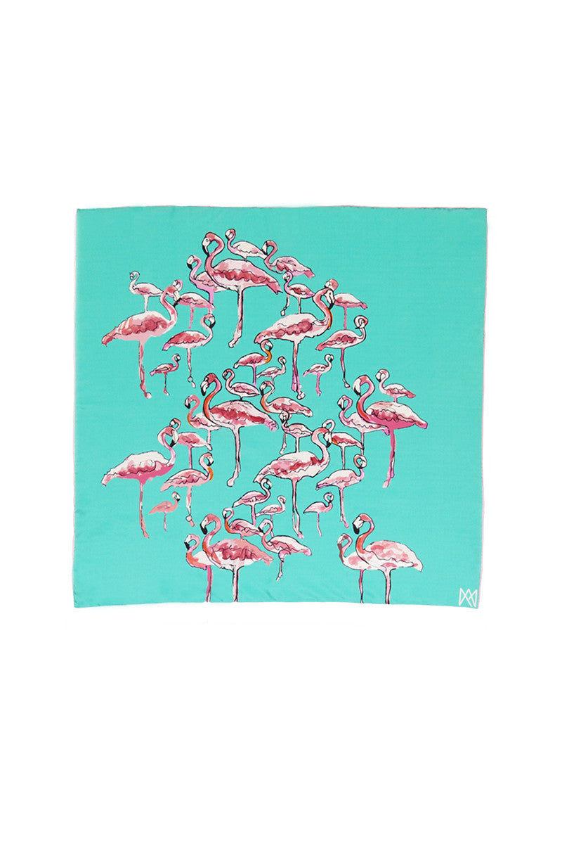 A.M. CLUB 100% Silk Scarves Accessories   Akimbo Flamingo  A.M. Club 100% Silk Scarves