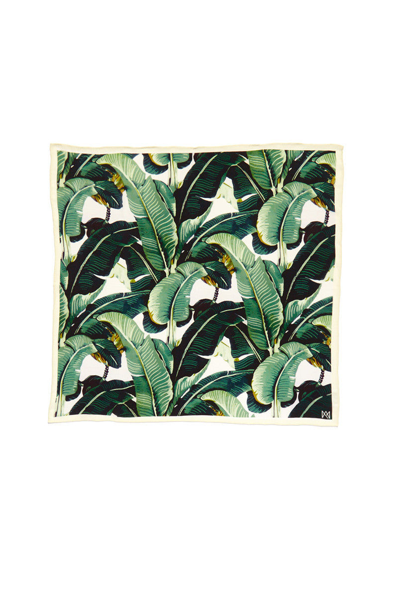 A.M. CLUB 100% Silk Scarves Accessories   Bev Hills Banana Leaf  A.M. Club 100% Silk Scarves
