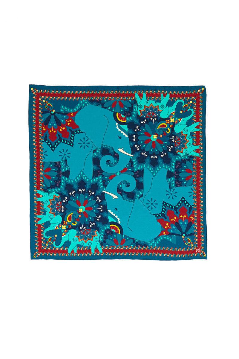 A.M. CLUB 100% Silk Scarves Accessories   Elephant Evolution Blue Hues  A.M. Club 100% Silk Scarves