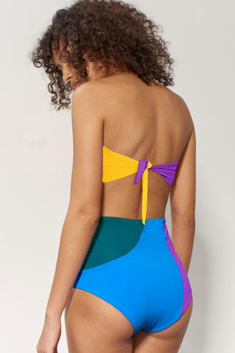MARA HOFFMAN Abigail Bandeau Top - Abacus Geometric Print Bikini Top | Abacus Geometric Print| Mara Hoffman Abigail Bandeau Top with back knot tie closure