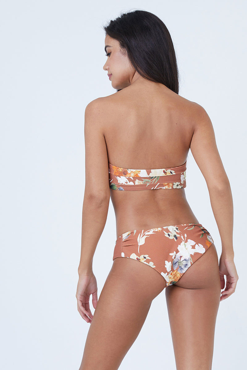 BOYS + ARROWS Kiki Mid Rise Bikini Bottom - Dirty Dancing Bikini Bottom | Dirty Dancing| Boys + Arrows Kiki Low Rise Bikini Bottom - Dirty Dancing Orange low-rise hipster-style cheeky bikini bottom in floral print. Seamless sides offer ultimate comfort and a wide waistband keeps the bottom in place. Back View