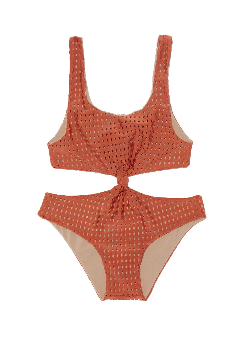 ACACIA HONEY Colombia Mesh One Piece Swimsuit (Kids) - Peach Mesh Kids One Piece | Peach Mesh| Acacia Honey Colombia Mesh One Piece Kids Front Knot One Piece Swimsuit Perforated Mesh Deep Peach Fabric Scoop Neckline Side Cut Outs Full Rear Coverage