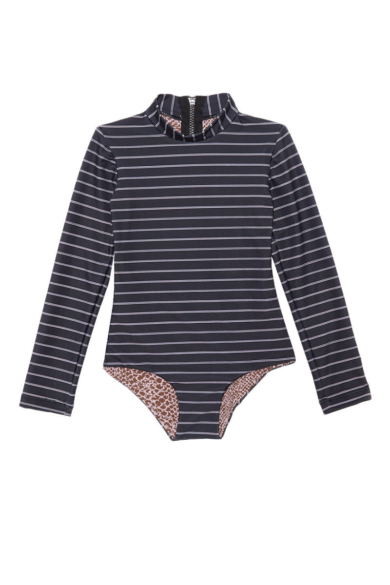 ACACIA HONEY Ehukai One Piece Swimsuit (Kids) - Forever Kids One Piece | Forever| Acacia Honey Ehukai One Piece Kids One Piece Swimsuit Navy Blue White Stripes Mock Turtleneck High Neckline Long Sleeves Seamless Fabric Zipper Closure at Back Full Rear Coverage