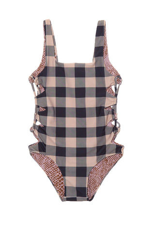ACACIA HONEY Hideaways One Piece Swimsuit (Kids) - Check Kids One Piece | Check| Acacia Honey Hideaways One Piece Kids One Piece Swimsuit Square Neckline Hardware-Free Seamless Fabric Cut-Outs at the Sides Wide Non-Adjustable Straps Full Rear Coverage